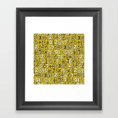 math doodle yellow Framed Art Print