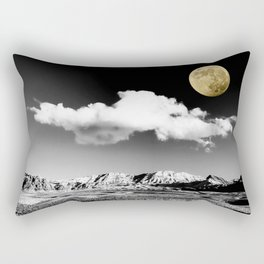 Black Desert Sky & Golden Moon // Red Rock Canyon Las Vegas Mojave Lune Celestial Mountain Range Rectangular Pillow