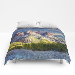 First Snow Maroon Bells Comforters