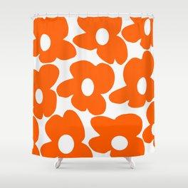 Orange Retro Flowers White Background #decor #society6 #buyart Shower Curtain