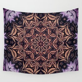 Strange Days // Psychedelic Trippy Dark Visionary Art Circle Abstract Orange Purple Black Wall Tapestry