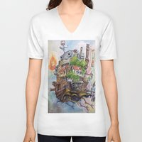 calcifer V-neck T-shirts featuring Howls Moving Castle Painting 2 by Little Miss Marikit