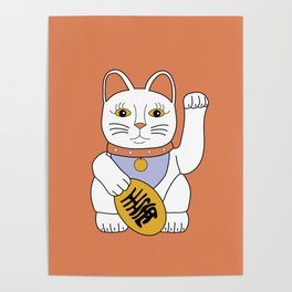 Maneki Neko - lucky cat - orange Poster