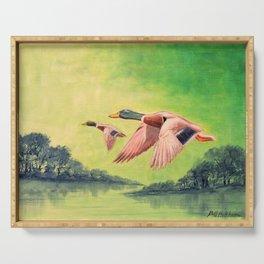 Mallard Ducks In Flight Serving Tray
