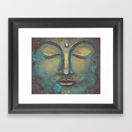 Rusty Golden Copper Buddha Face Watercolor Painting Framed Art Print