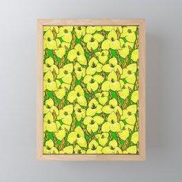 Puya Flowers, Floral Pattern, Green Yellow Framed Mini Art Print