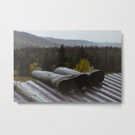 Mountain landscape with rubber boots on the farm, mountain village landscape Metal Print