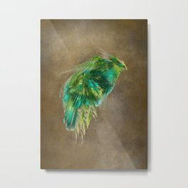 Green Bird - Fractal Art Metal Print
