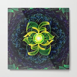 Abstract Fractal Painting of Green-Jeweled Cactus Metal Print