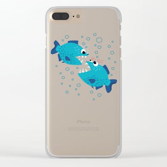 Gossiping Blue Piranha Fish Clear iPhone Case