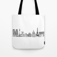 Paris Landmarks by the Downtown Doodler Tote Bag