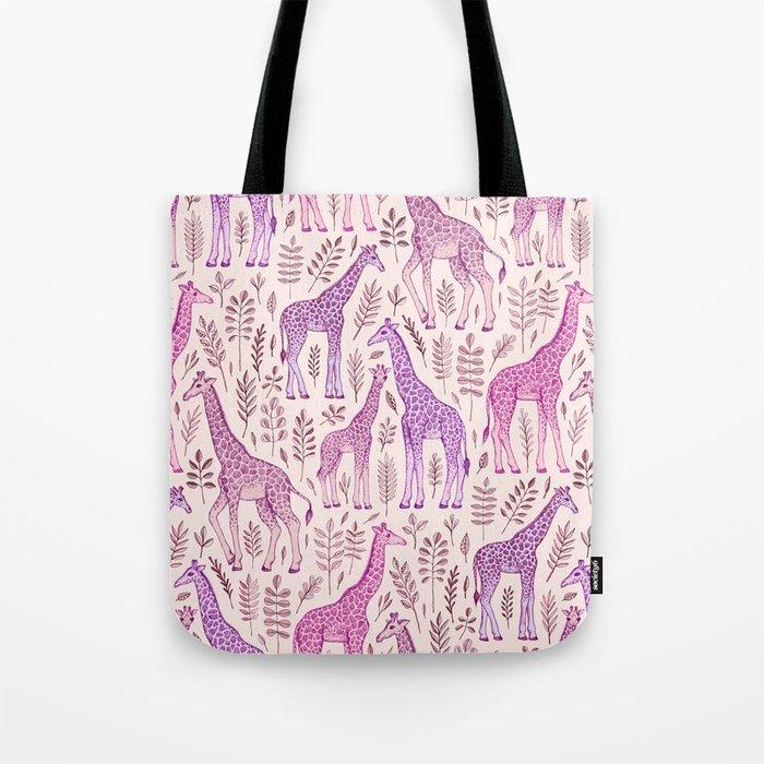 Pink Giraffe Pattern Tote Bag
