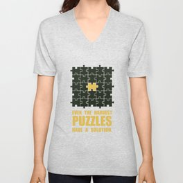 Lab No. 4 -Even The Hardest Puzzles Have A Solution Corporate Start-Up Quotes Unisex V-Neck