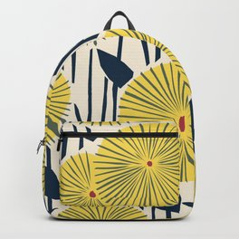 vintage, retro yellow, red and navy flower pattern Backpack