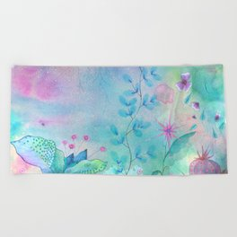 Ethereal garden watercolor painting Beach Towel