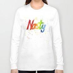 Nasty Woman Rainbow Watercolor Text Long Sleeve T-shirt