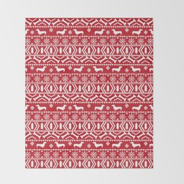 Dachshund fair isle christmas dog breed gifts for dog lover pet art cute holiday doxie dogs Throw Blanket