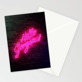 Hello Gorgeous - Neon Sign Stationery Cards
