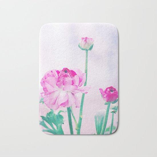 Vintage Ranunculus (7) Bath Mat