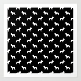 Boston Terrier silhouette black and white minimal dog lover gifts all dog breeds Art Print