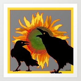 Two Contentious Crows/Ravens & Yellow Sunflower Grey Art Art Print