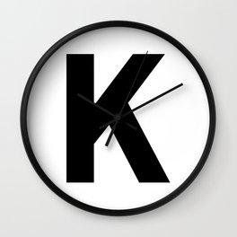 Letter K (Black & White) Wall Clock