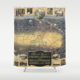 Vintage Map of Fresno California (1919) Shower Curtain