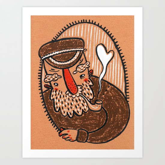 ...and her crusty old fisherman. Art Print