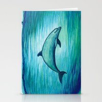psychadelic Stationery Cards featuring Indigo Lagoon ~ Dolphin Watercolor by Amber Marine