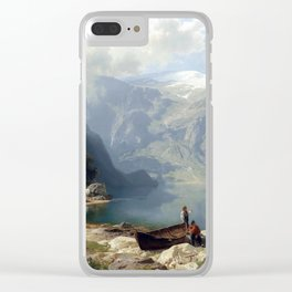 August Wilhelm Leu Sunny Day at a Norwegian Fjord Clear iPhone Case
