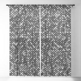 Grey Squares Sheer Curtain