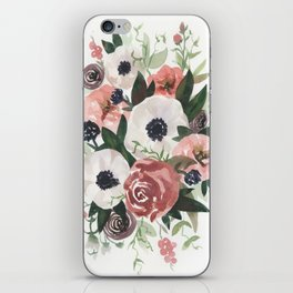 Anemone Berry Watercolor Bouquet iPhone Skin