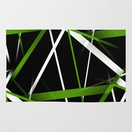 Seamless Grass Green and White Stripes on A Black Background Rug