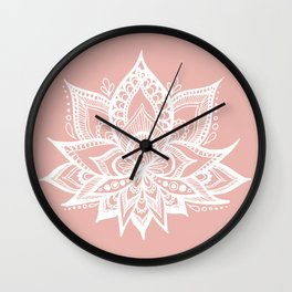 White Lotus Flower on Rose Gold Wall Clock