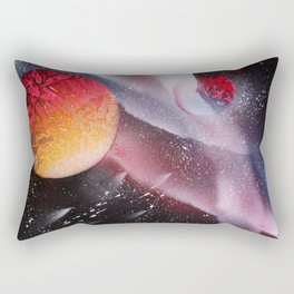 Red planets against the Milky Way with Meteor Shower Rectangular Pillow
