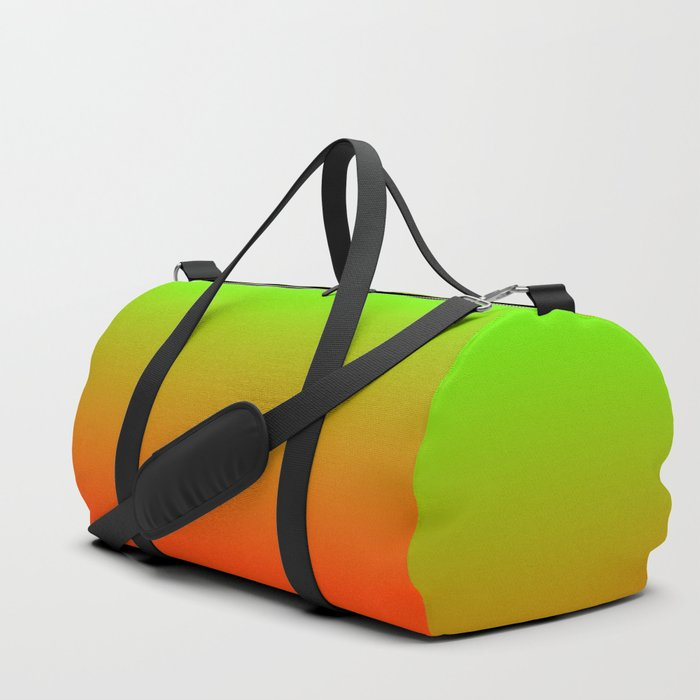 Neon Green and Neon Orange Ombré  Shade Color Fade Duffle Bag