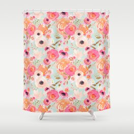 Indy Bloom Blush Blue Florals Shower Curtain