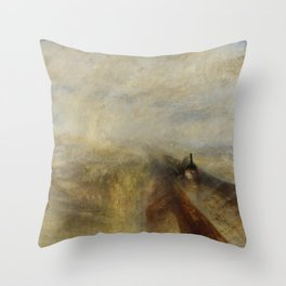 """J. M. W. Turner """"Rain, Steam and Speed – The Great Western Railway"""" Throw Pillow"""