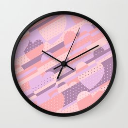 Sweet Heart Pattern (Pastel Coral Pink, Lavender) Wall Clock