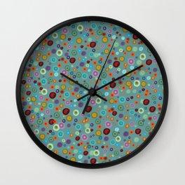 Playful Watercolor dots pattern Wall Clock