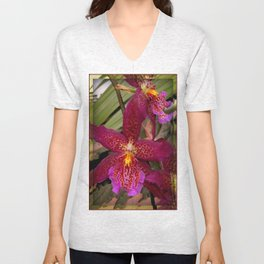 Rose Madder Orchids Unisex V-Neck