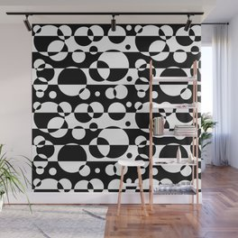 Black White Geometric Circle Abstract Modern Print Wall Mural