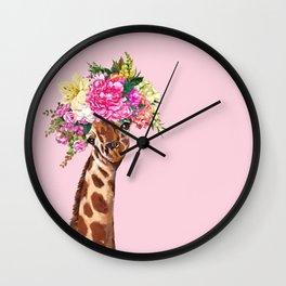 Flower Crown Baby giraffe in Pink Wall Clock