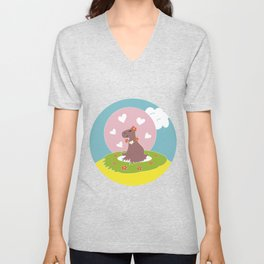 Capybara in Love Unisex V-Neck