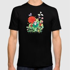 panda and flowers Black MEDIUM Mens Fitted Tee