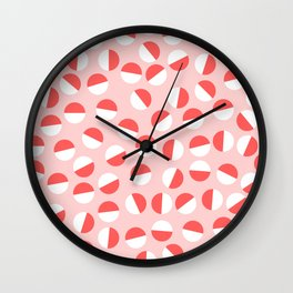 Halved Circles Red on Pink Wall Clock