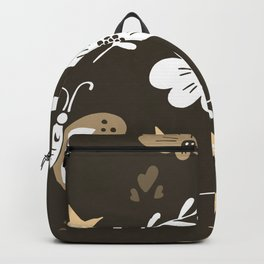 Dark Brown Pattern with White Flowers and light brown butterflies Backpack