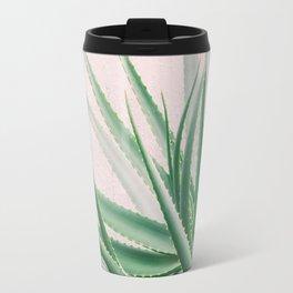 Minimal Aloe on pink background - Aloe Photography Travel Mug