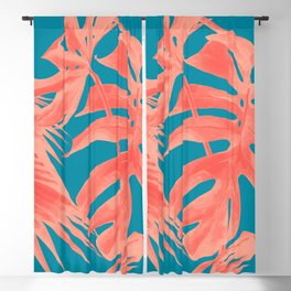 Living Coral Tropical Palm Leaves Monstera III Blackout Curtain
