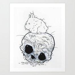 Whiskers, the Skull Bunny Art Print